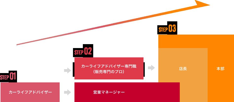 STEP01:カーライフアドバイザー、STEP02:カーライフアドバイザー専門職(販売プロの専門)、営業マネージャー、STEP03:店長、本部
