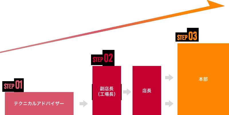 STEP01:テクニカルアドバイザー、STEP02:副店長(工場長)・店長、STEP03:本部